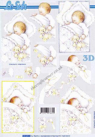 A Sleeping Baby 3d Decoupage Sheet from Le Suh